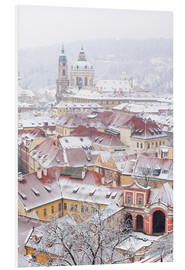 Foam board print  winter roofs of Ledebursky palace and St. Nicolas church, Prague