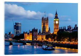 Acrylic print  Big Ben and Westminster Bridge in the Evening, London