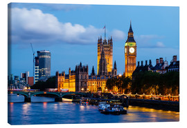 Canvas print  Big Ben and Westminster Bridge in the Evening, London