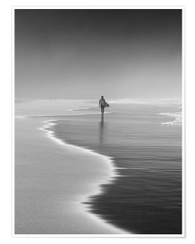 Poster  Lone surfer at the beach - Alex Saberi