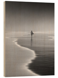 Wood print  Lone surfer at the beach - Alex Saberi