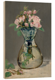 Wood print  Roses in a vase - Edouard Manet
