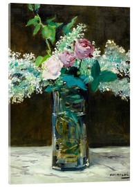 Acrylic print  Vase with White and Pink Lilacs - Edouard Manet
