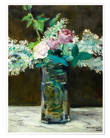 Premium poster Vase with White and Pink Lilacs