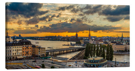 Canvas  Night view of Stockholm