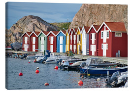 Canvas print  Fishing huts in Smogen, Sweden