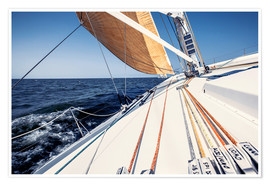 Premium poster Sailing yacht at full speed