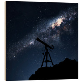 Wood  Silhouette of a Telescope