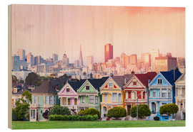 Wood print  Painted Ladies in the evening