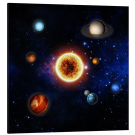 Aluminium print  Our sun and planets