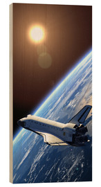 Wood print  Space shuttle orbiting earth