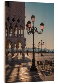 Wood print  St. Mark's Square in the morning