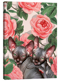 Canvas print  Sphynx kitten with roses - Mandy Reinmuth