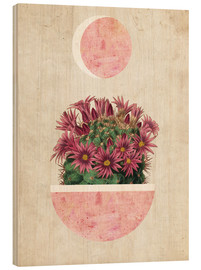 Wood print  sunshine cactus - Mandy Reinmuth
