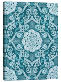 Canvas print  Centered Lace in Sea Green Teal - Micklyn Le Feuvre
