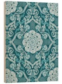 Wood print  Centered Lace in Sea Green Teal - Micklyn Le Feuvre