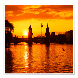Premium poster Berlin - Sunset Skyline