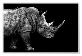 Premium poster  Safari Profile Collection - Rhino Black Edition - Philippe HUGONNARD