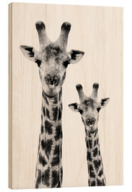 Wood print  Safari Collection - Portrait of Giraffe and Baby - Philippe HUGONNARD