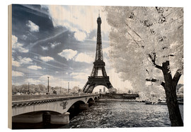 Wood print  Infrared Eiffel Tower and Seine - Philippe HUGONNARD