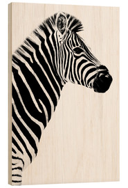 Wood print  Zebrastute in profile - Philippe HUGONNARD
