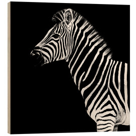 Wood print  Zebra on black - Philippe HUGONNARD