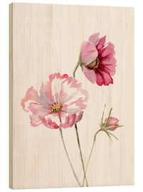 Wood print  Cosmos flower - Verbrugge Watercolor