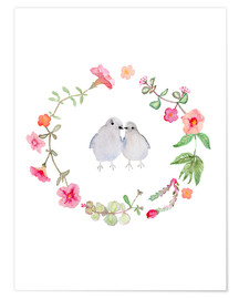 Verbrugge Watercolor - Wreath with love birds