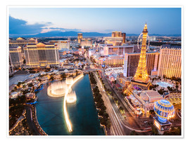 Premium poster  View on Bellagio fountain and the Strip, Las Vegas, Nevada, USA - Matteo Colombo