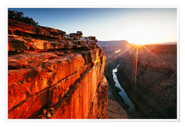 Premium poster Beautiful sunrise on Grand Canyon and river Colorado, USA
