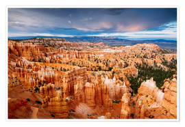 Premium poster Dramatic sunset over Bryce canyon, Utah, USA