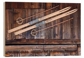 Wood print  Old Ski in Switzerland - Dieterich Fotografie