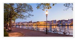 Premium poster  Basel at night - Dieterich Fotografie