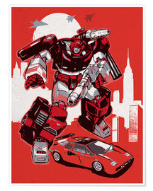 Poster alternative sideswipe retro transformers art print
