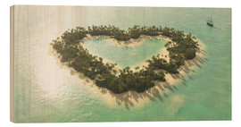 Wood print  The heart island - Peter Weishaupt