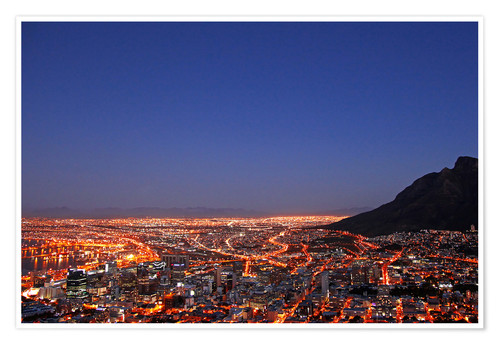 Premium poster Cape Town at night, South Africa