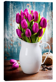 Canvas  Purple Tulips in an enamel jug