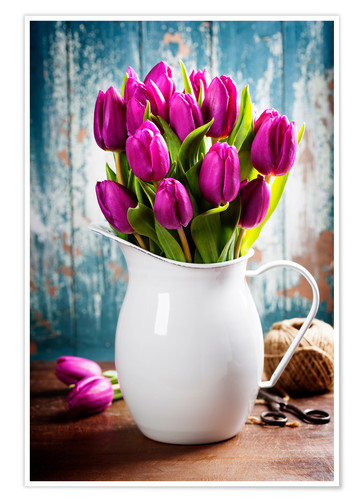 Premium poster Purple Tulips in an enamel jug