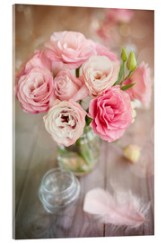 Acrylic print  Romantic rose bouquet with feather