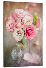 Aluminium print  Romantic rose bouquet with feather