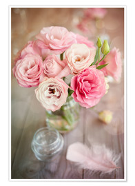 Premium poster  Romantic rose bouquet with feather