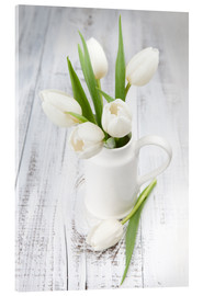 Acrylic print  White tulips on whitewashed wood