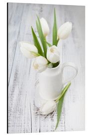 Aluminium print  White tulips on whitewashed wood