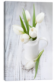 Canvas  White tulips on whitewashed wood