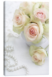 Canvas print  Pastel-colored roses with pearls