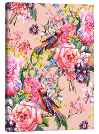 Canvas print  Roses and birds