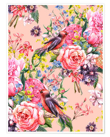 Poster  Roses and birds