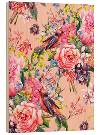 Wood  Roses and birds