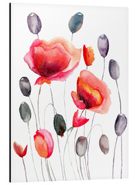 Aluminium print  Poppy flowers and capsules