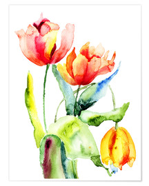Premium poster  Three Tulips